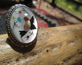 Zuni Multistone and Sterling Silver Inlay Ring Size 8 to 9 (adjustable)