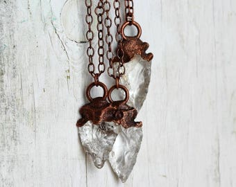 Arrowhead Necklace Electroformed Copper Pendant Crystal Pendant Modern Minimalist Jewelry Stone Arrowhead