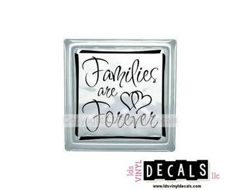 Families are Forever (with hearts) - Family Vinyl Lettering for Glass and Wood Blocks - Craft Decals