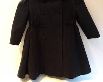 Vintage Rothschild Black Wool and Velvet Coat Size 3