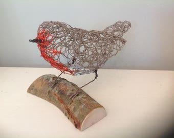 Robin wire sculpture, ornament, figurine