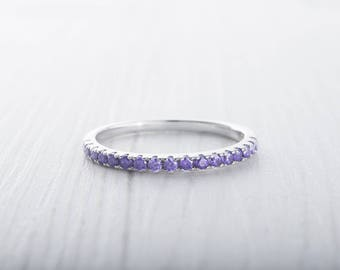 1.8mm wide Amethyst Gemstone Half Eternity ring - stacking ring - wedding band in white gold or Silver