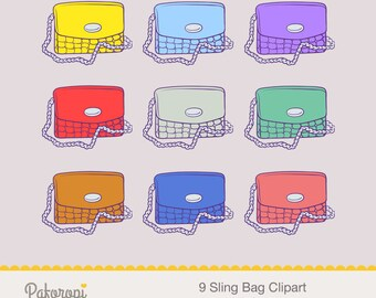Sling Bag Clipart - Sling Chain Bag Clipart - Purse Clipart - Bag Clipart - Clutch Clipart