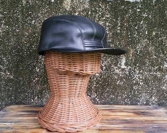 Vintage Black Faux Leather Newsboy Cap