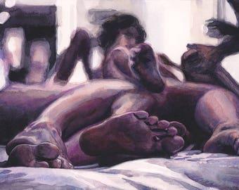 "Signed Giclée Art Print by Vanessa Walsh, ""Poly"", Erotic Art Print, Foot Fetish Art, swinger Kink Art Print."