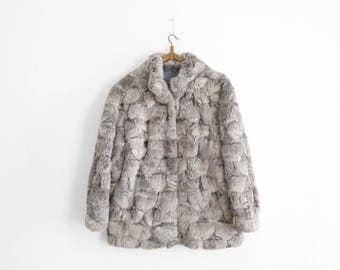 Vintage Fur Coat - Grey Rabbit Fur - 1970s/1980s - Size Large