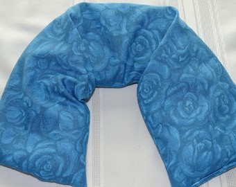 Rice Bag Hot Cold Pack Neck ShoulderTherapy Unscented Blue Cabbage Rose Print