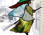 Kitchen Witch Stained Glass Suncatcher- Halloween Witch