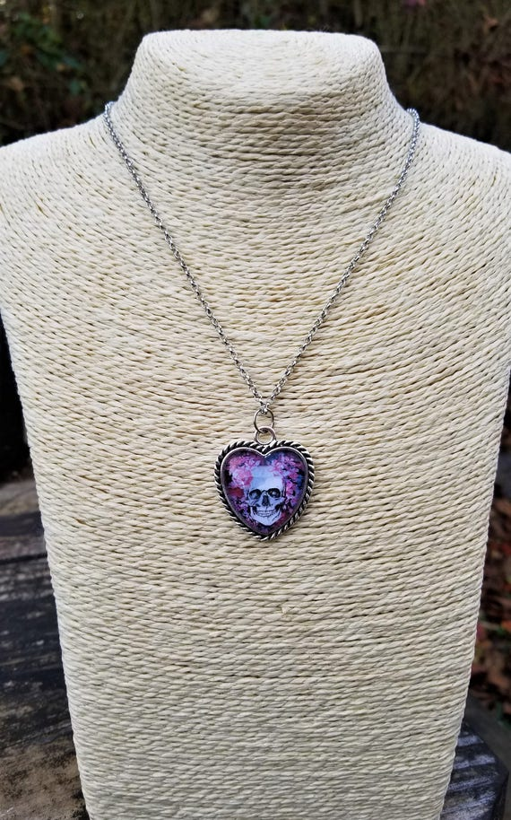 Skull & Flowers Heart Pendant Necklace