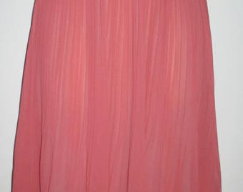 NEW Coral Chiffon Micro Pleat Summer Skirt Lined Elastic Waist SIze Small