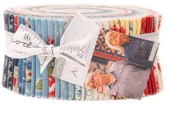 "ANN'S ARBOR Minick & Simpson Jelly Roll 40 - 2.5"" x 44""  Fabric Strips  For Moda"