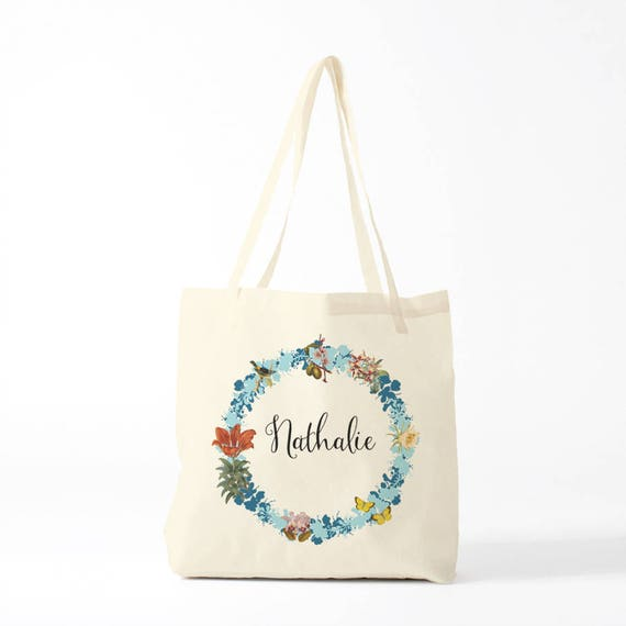 Tote Bag, Nathalie, custom, blue, name of your choice, birth gift, canvas bag name, custom tote bag, name on a bag, purse, groceries bag.