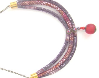 Boho jewelry - Hippie necklace - Ethnic jewelry - Chunky necklace - Fabric necklace - Bijoux ethnique