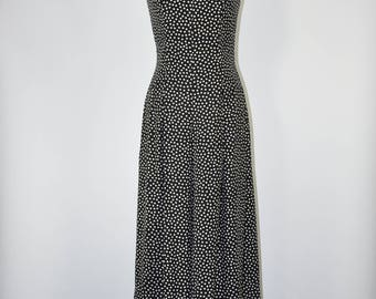 80s polka dot jumpsuit / 1980s wide leg playsuit / vintage black maxi romper