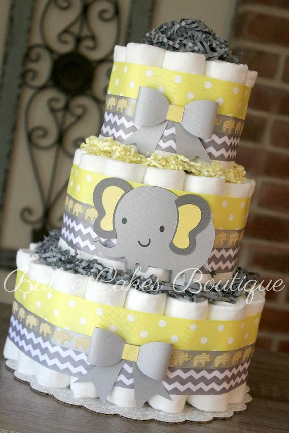 3 Tier Yellow and Gray Elephant Diaper Cake Yellow Grey