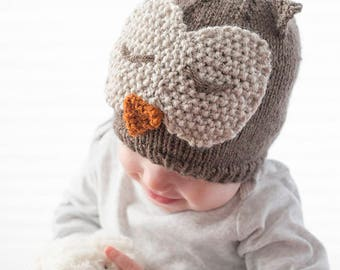 Sleepy Owl Hat KNITTING PATTERN - knit hat pattern for babies, infants - sizes 0-3 months, 6 months, 12 months, 2T+