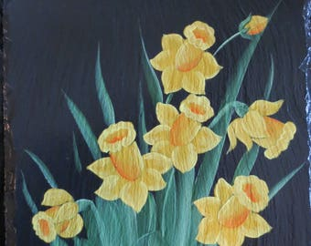 Hand Painted Daffodils Slate