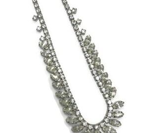 Signed Kramer Necklace, Vintage Rhinestone Neckace, Rhinestone Choker, Wedding Bridal Jewelry, Costume Jewelry