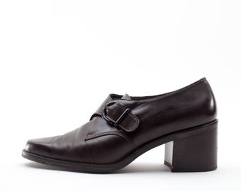 90s Vintage Shoes | Brown Leather Monkstrap | Size US Women's 7.5  Euro 38  UK 5.5