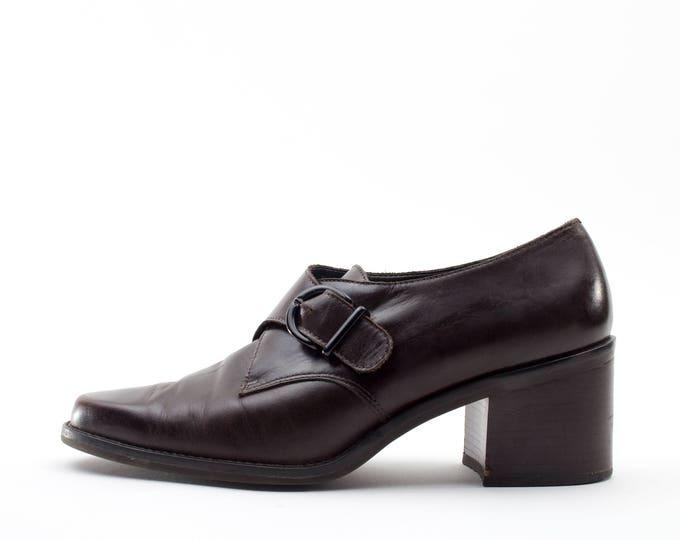 90s Vintage Shoes | Brown Leather Monkstrap | Size US Women's 7.5  Euro 38  UK 5.5