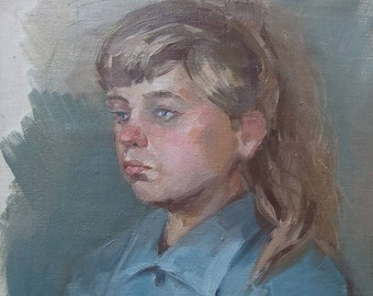 This is My Student's Academic Work Portrait Artist's Model - Oil Painting Vintage