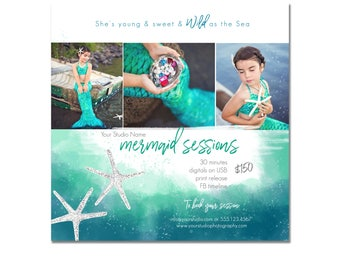 INSTANT DOWNLOAD, Mermaid Mini Session Photography Template, Marketing, Children, Watercolor, Simple, Elegant, Summer, Beach, Sea, Ocean