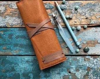 Leather pen case Leather pencil case Pencil holder Pen holder Roll Case Leather roll holder