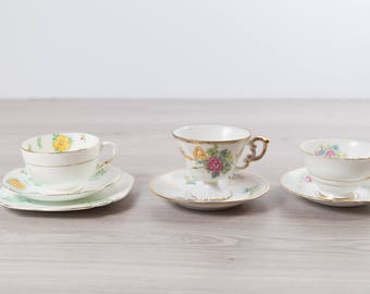 Vintage Teacups - Set of 3 Tea Cups and Saucers with Floral Pattern - Flowers Bone China - Sutherland China