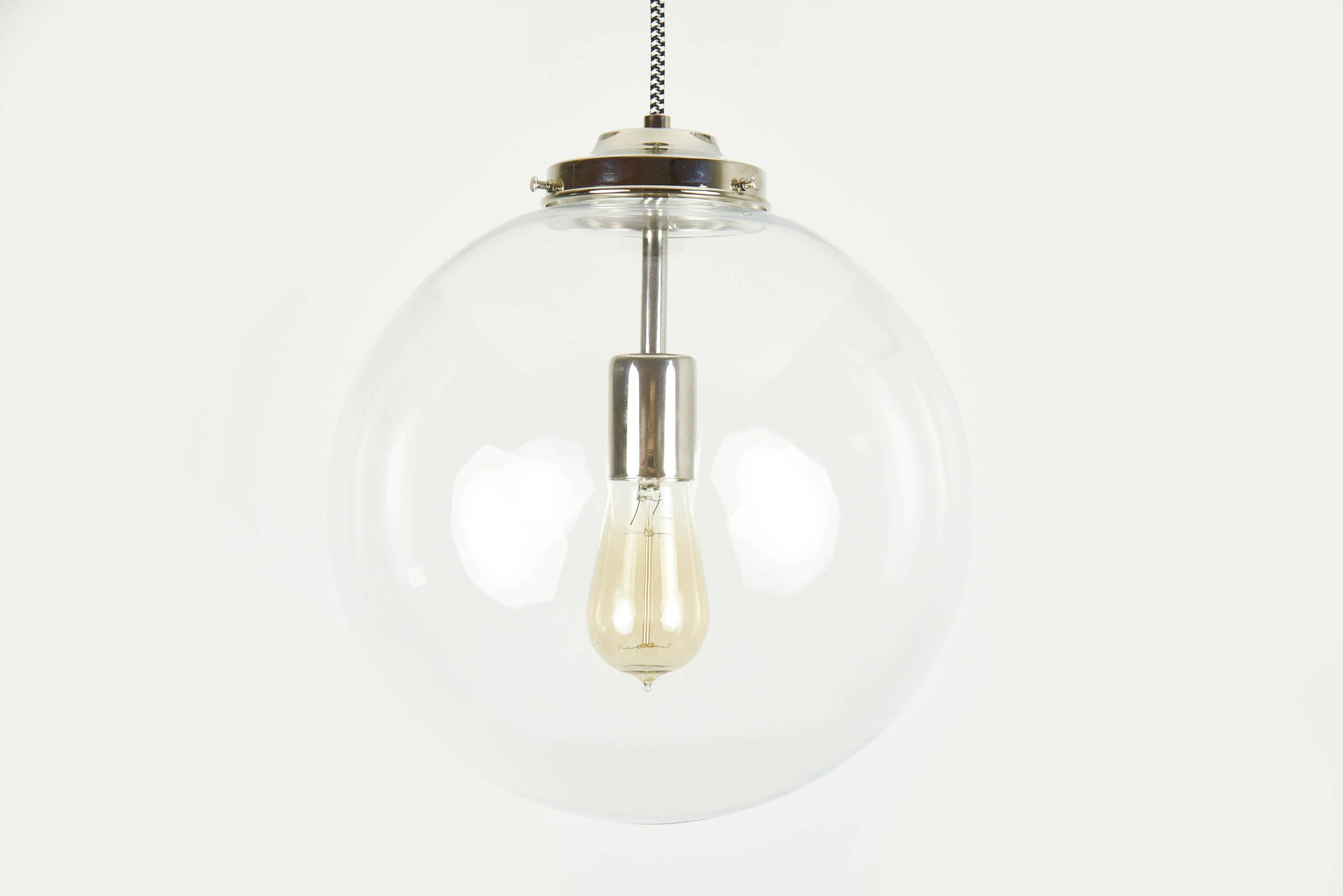 Polished Nickel Modern Pendant Lighting with Clear Glass Globe