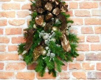 Rustic Christmas Door Swag, Swag For Door, Door Swag For Christmas, Vertical Wreath, Christmas Swag, Brown Christmas Wreath, Christmas Decor