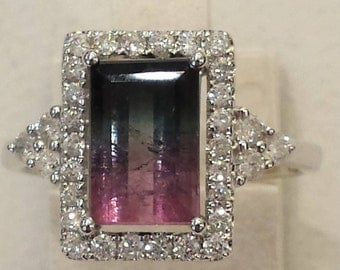 18 k white diamond and water-melon tourmaline ring