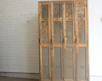Bank Of 4 Wooden Factory Lockers Circa 1950s