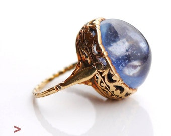 Antique Ring solid 18K Gold 23ct natural Blue Sapphire Size 4.75 US/ 9.6