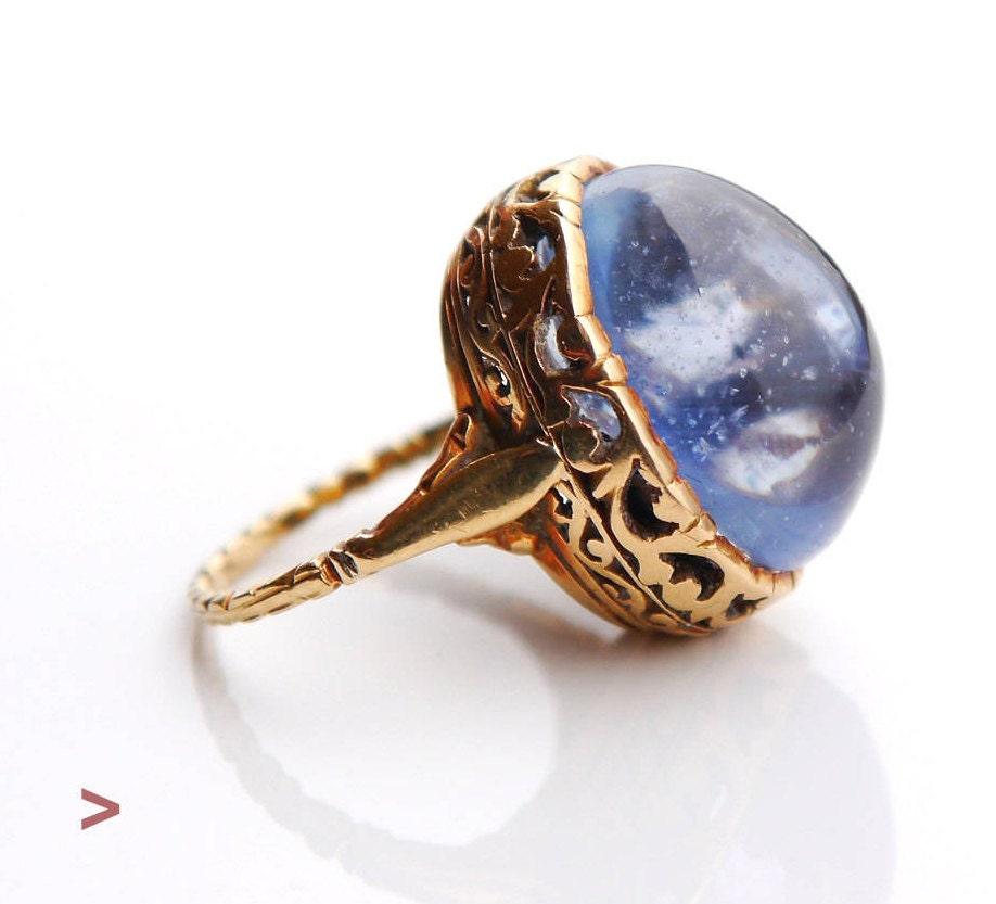 antique ring solid 18k gold 23ct natural blue sapphire size. Black Bedroom Furniture Sets. Home Design Ideas