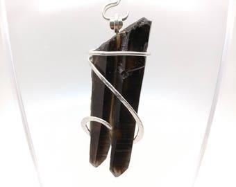 Smokey Quartz Crystal Pendant | Twinned Smokey Quartz | Raw Crystal Pendant Necklace | Sterling Silver Pendant | Smoky Quartz | Black Quartz