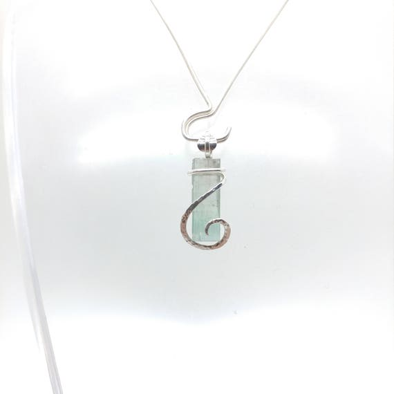 Raw Tourmaline Necklace   Sterling Silver Necklace    Rough Tourmaline Necklace   Tourmaline Crystal Pendant   October Birthstone Necklace