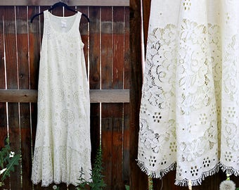 Vintage Anna Sui White Lace Dress, Size Small
