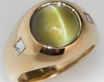 Vintage Men's Ring - 7 Carat Cats Eye Chrysoberyl With Diamonds -  Vintage 18K Yellow Gold Mens Ring -  WMV12614