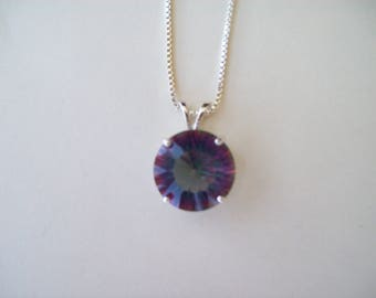Rainbow Mystic Topaz Pendant in Sterling Silver 15mm round