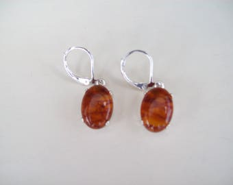 PERFECT SIZE - Genuine Baltic Amber Earrings in .925 Sterling Silver 14x10 mm oval