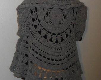 Crochet Circular Oxford Grey Sweater