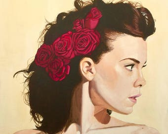 "Print** Acrylic Painting, ""Girl with Roses in Her Hair"""