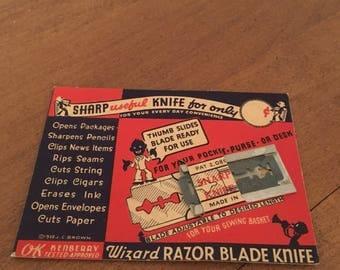 Vintage Wizard Razor Blade Knife