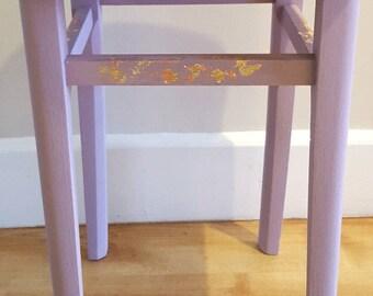 Upcycled Furniture Vintage Furniture Vintage Stool Upcycled Stool Sewing Stool Office Stool Painted Stool Wooden Stool Purple Kitchen Stool