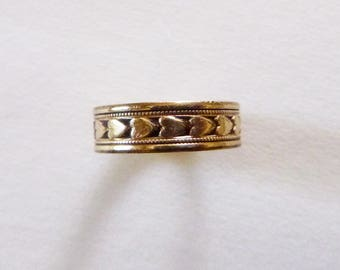 Art Deco gold filled cigar band engraved eternity wedding ring hearts size 6.5 Clark Coombs