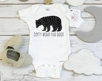 Monochrome Onesie®, DON'T WAKE The BEAR, Black and White Onesie, Monochrome Nursery, Baby Shower Gift, Organic Baby, Baby Bear Onesie, Bear