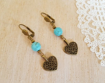 Boho Heart Earrings, Earrings with Hearts and Natural Turquoise Beads, Love Gift