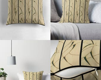 Solar Art - Solar Pyrography — Throw Pillow with Delicate Solar Etched Design - 'Cattails' Diptych / Spun Polyester / Stylish & Unique