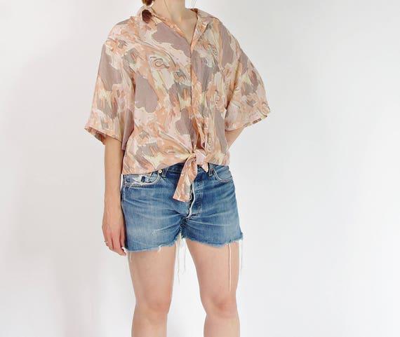SALE - 80s Neutrals abstract silk shirt / size M-XL