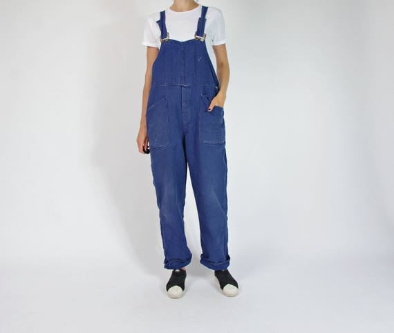 80s Sanforized cotton distressed workwear overalls / size m/l/xl